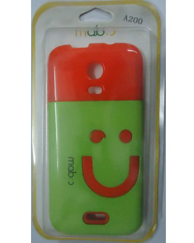 Micromax A200 Canvas Turbo Mini Smiley hard Back Cover Orange With Green