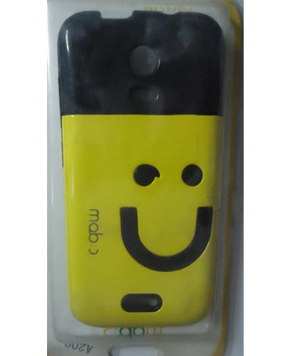 Micromax A200 Canvas Turbo Mini Smiley hard Back Cover Yellow With Black