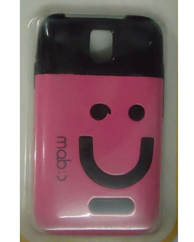Micromax A24 Smiley Back Case Pink And Black Mix Colour