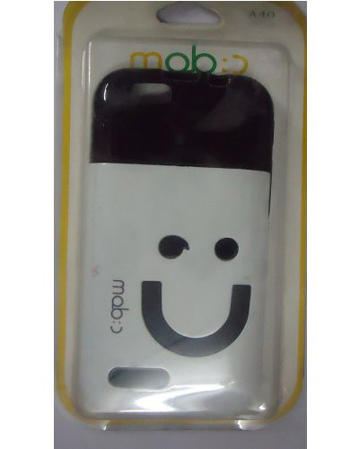 Micromax Bolt A40 Smiley Back Cover Black And White Mixed
