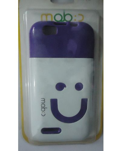 Micromax Bolt A40 Smiley Back Cover Voilet And White Mixed