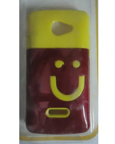 Xolo A500L Smiley Hard Back Cover Maroon With Yellow