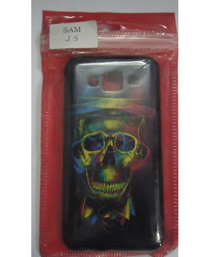 Samsung Galaxy J5 Cool Skull Designer Back Cover Multicolour
