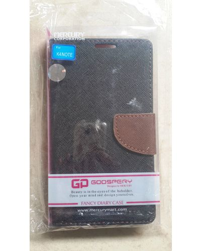 Lenovo K4 Note Goospery Mercury Flip Flap Diary Cover Case Black With Brown