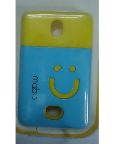 Nokia Asha 501 Smiley Hard Back Cover Light Blue With Yellow