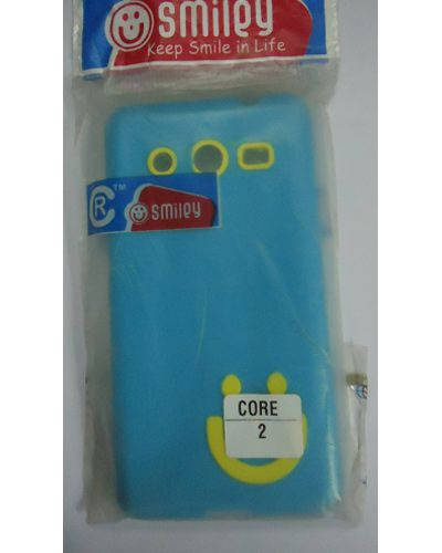 Samsung Galaxy Core 2 Smiley Back Cover Sky Blue With Yellow