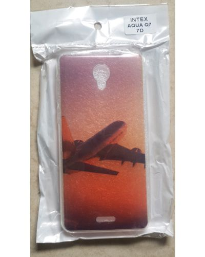 Intex Aqua Q7 Designer Aeroplane In The Sky Back Case Cover