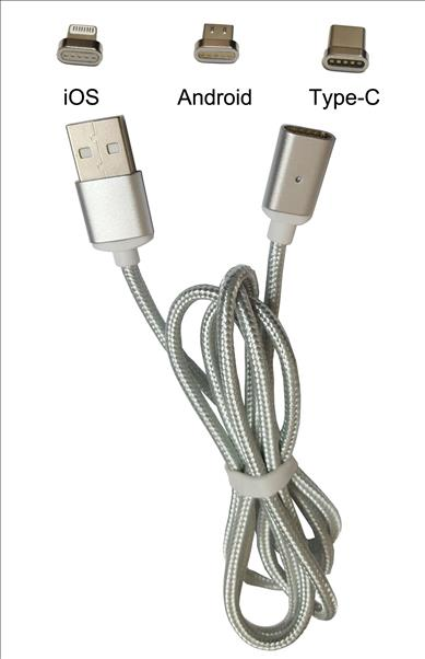 Intex Aqua Selfie Magnetic Data Cable 3 in 1 Silver Color