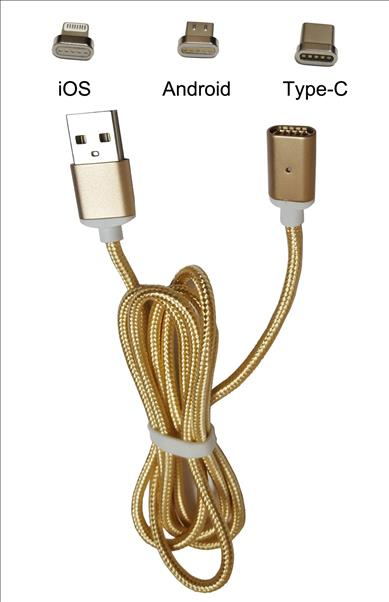 Oppo r9s plus Magnetic Data Cable 3 in 1 Gold Color