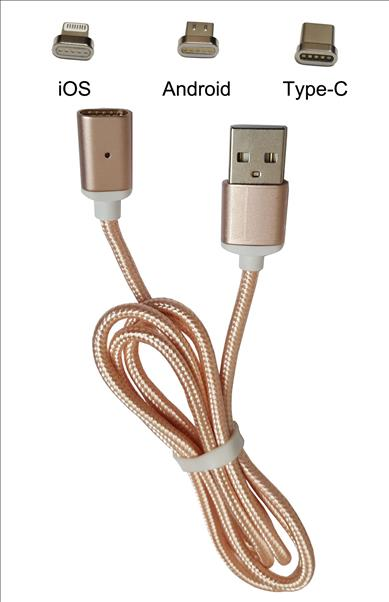 Samsung S8 Plus Magnetic Data Cable 3 in 1 Pink Color